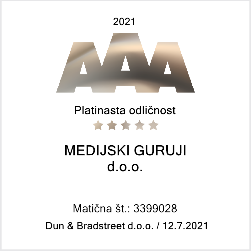 Bisnode platinasta bonitetna odličnost AAA - Medijski Guruji